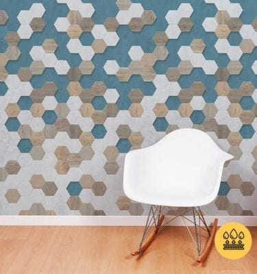 GRAPHIC BLUE PVC WALL PANELS