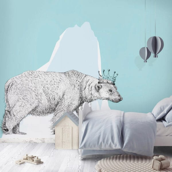 Kids Blue Ice Field - Bear Illustrative Wall Panels