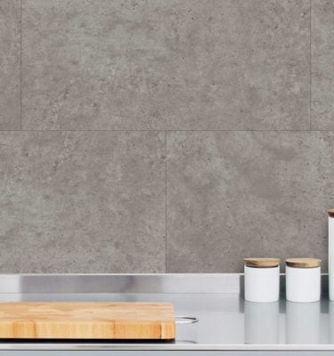 Grey Concrete Tile Effect Wall Panel Kitchen