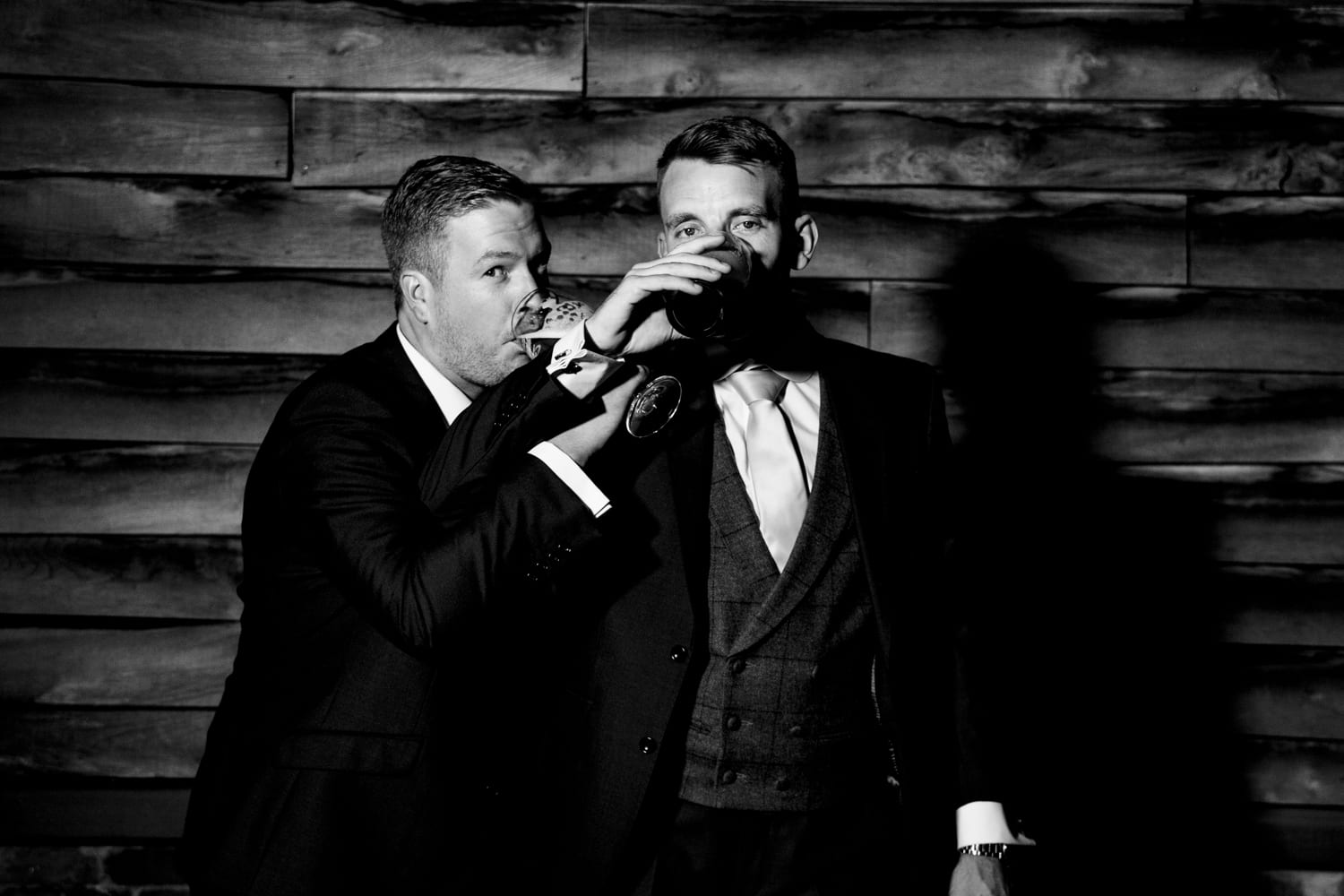 black and white groom and best man - wedding photography Essex