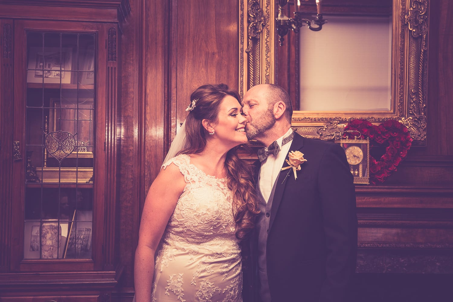 bride and dad in braintree town hall, Essex