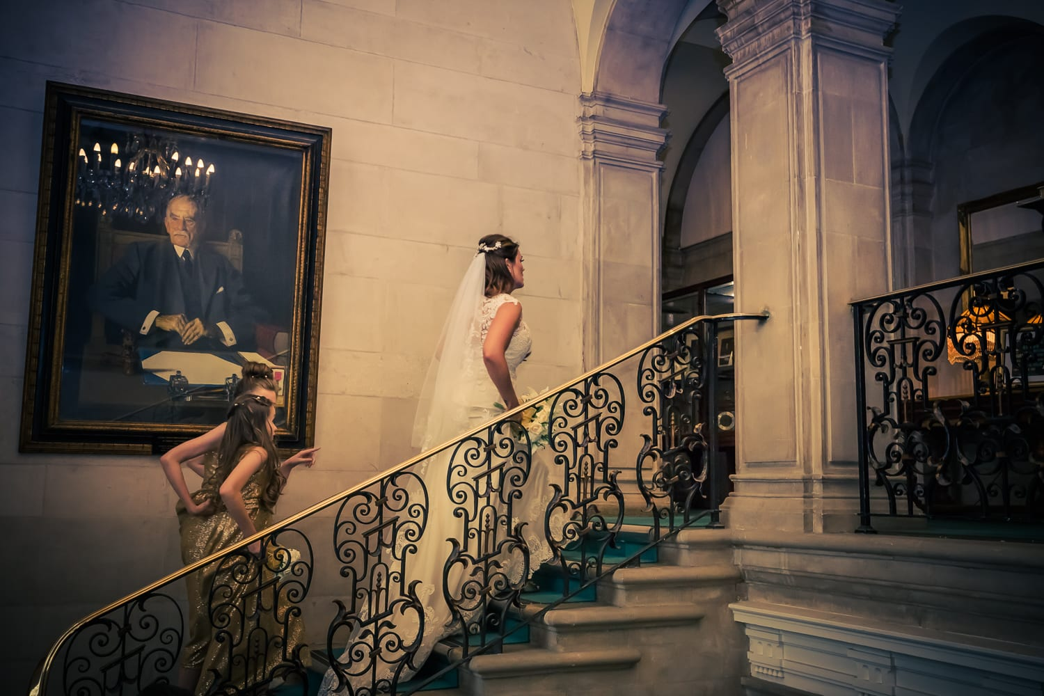bride walking up the stairs at  braintree town hall, Essex