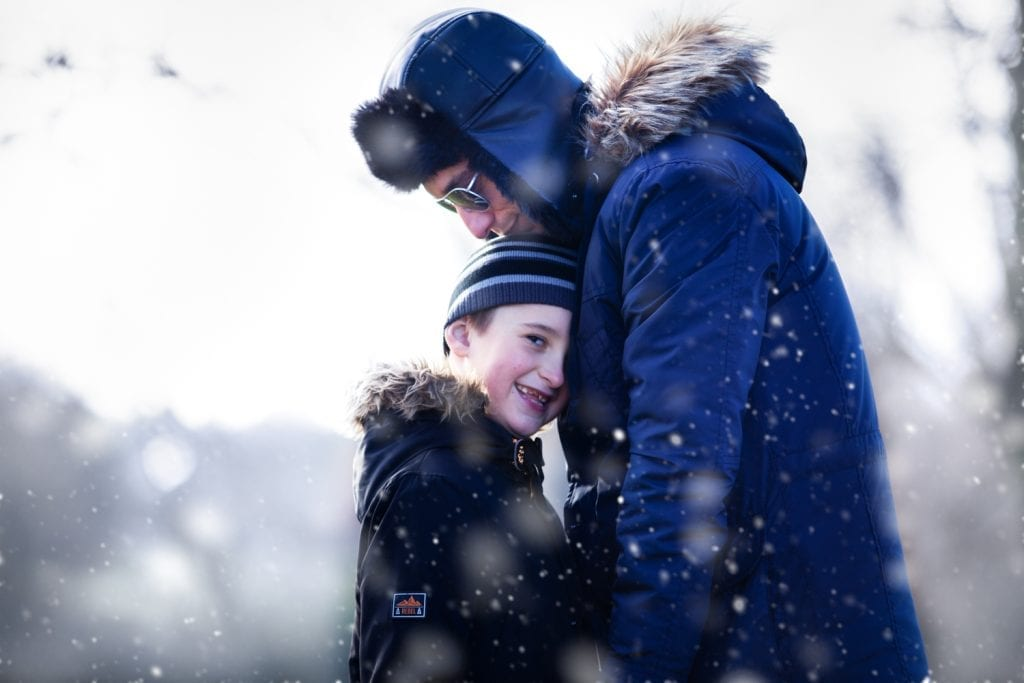 family photo shoot chelmsford, Essex - snow scene father and son