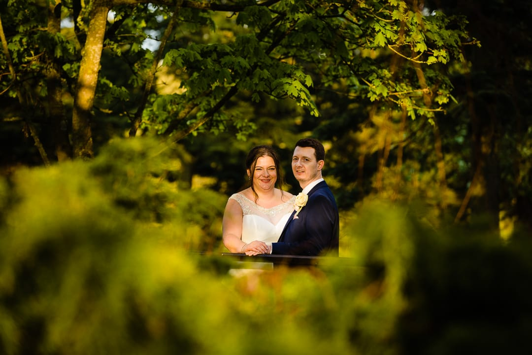 bride and groom on the grounds at Essendon Country Club