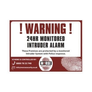 Warning Stickers 24Hr Moniored A6